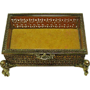 Vintage Goldtone Metal Filigree Jewelry Casket Box Beveled Glass Putti