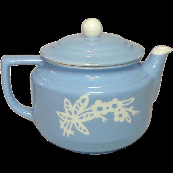 Harker Pottery Company, USA, Blue Cameoware, Coffee / Tea Pot