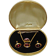 Anson Cufflinks and Tie Bar Set, Boxed, 1/20 12KT Gold-filled with Ruby Glass