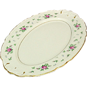 "Princess China, TruTone USA, Sweet Briar Pattern, 14"" Oval Platter, Mid 20th Century"