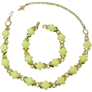 Mid-Century Necklace and Bracelet Set, Lemon Glass and Golden Plated Metal
