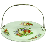 Vintage Sandwich / Fruit Platter with Detachable Metal Handle, Fruits Decoration