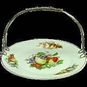 Vintage Sandwich / Fruit Platter with Detachable Metal Handle, Fruits Decoration