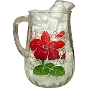 Anchor Hocking Glass, Ice-lip Pitcher, Red and Green Floral, 80 oz.