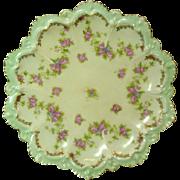 "Moritz Zdeckauer, Austria, Porcelain 8"" Dish, Fancy Scalloped Rim, Roses"