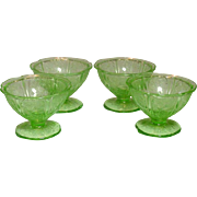 Jeannette Glass, Cherry Blossom Pattern, Sherbets, Green, 1930-39