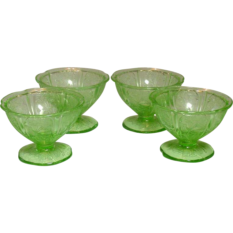 Jeannette Glass, Cherry Blossom Pattern, Sherbets, Green, 1930-39