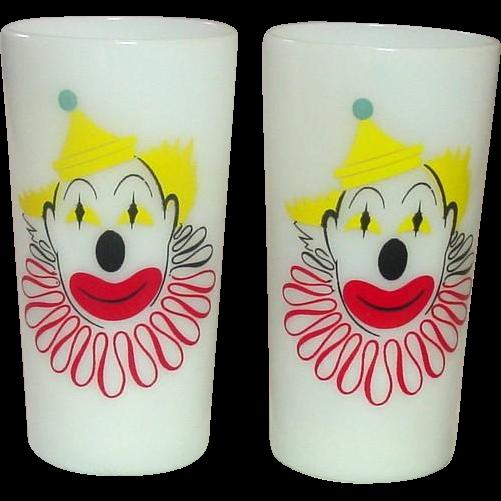 Hazel-Atlas Glass Company, Clown Glasses, Opal Ware, A Pair