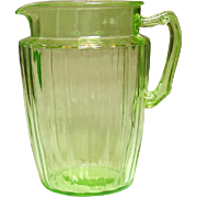 Anchor Hocking Glass, Pillar Optic, Pitcher, Green, 1937-1942 - Red Tag Sale Item