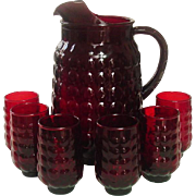 Anchor Hocking Glass, Bubble Pattern, Royal Ruby, Ice-lip Pitcher, 6 Juice Tumblers