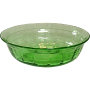 Hocking Glass Company, Block Optic Pattern, Green, large Berry Bowl, 1929-1933