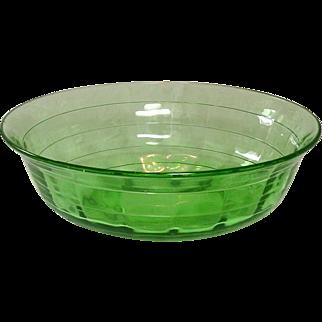Hocking Glass Company, Block Optic Pattern, Green, large Berry Bowl, 1929-1933