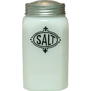 Depression Era Milk Glass Shaker with Black Salt Decoration