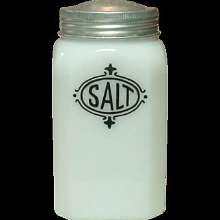 Depression Era Milk Glass Shaker with Black Salt Decoration