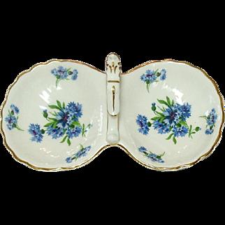 Hammersley Bone China, England, 2 Compartment Handled Tray, Cornflower Blue