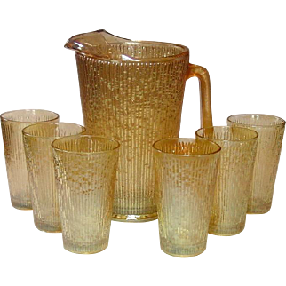 Marigold Carnival Ice-lip Pitcher and Tumblers, Tree Bark Variant, Jeannette Glass Co.
