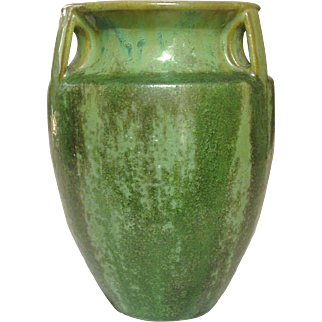Fulper Art Pottery, Bullet Vase, #530, Green Drip Glaze, Arts and Crafts