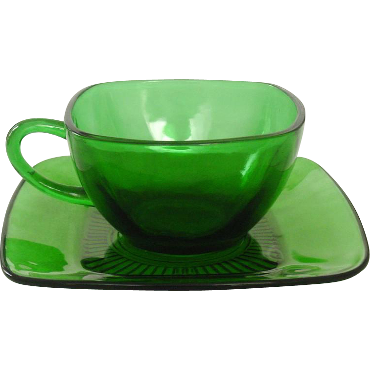 Anchor Hocking Glass, Charm Pattern, Forest Green, Cups & Saucers, Mid-Century