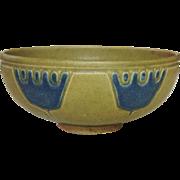 Unusual Nippon Stoneware Bowl, Molded Design, Blue Crowns, Tan Body, Circa 1900