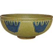 Unusual Nippon Stoneware Bowl, Molded Design, Blue Crowns, Tan Body, Circa 1900