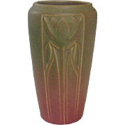 Rookwood Pottery, Arts and Crafts, Incised Floral Design Vase, Matte Dusty Rose and Moss Green, 1913