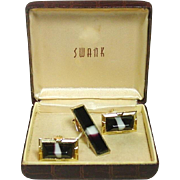 Vintage Swank Cufflinks and Tie Clip Set in Original Box