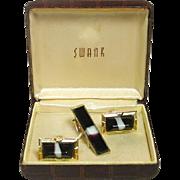 Vintage Swank Cufflinks and Tie Clip Set in Original Box