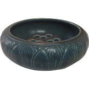 Rookwood Pottery, Cerulean Blue Bowl with Flower Frog, 1929, Arts and Crafts
