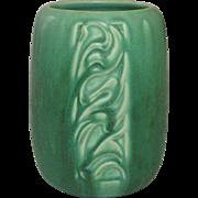 Rookwood Pottery, Arts and Crafts, Incised Design Vase, Matte Emerald Green, 1931