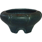 Rookwood Pottery, Dark Blue Drip Glazed Footed Bowl, 1920, Arts and Crafts
