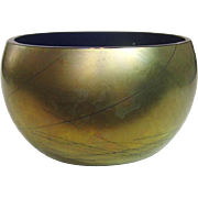 Steven Maslach , Iridescent Finish over Cobalt Glass Bowl, Signed, 1988