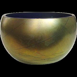 Steven Maslach , Iridescent Finish over Cobalt Glass Bowl, Signed, 1988