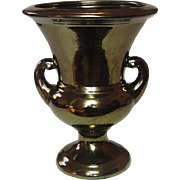 Haeger Pottery, Handled Pedestal Urn Vase, Bronze Crackle Finish