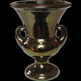 Haeger Pottery, Handled Pedestal Urn Vase, Bronze Crackle Finish