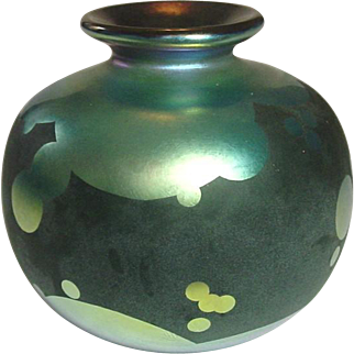 """Elaine Hyde, Blown Art Glass Vase, 4"""", Blue Lustre and Black Matte, Signed and Dated"""