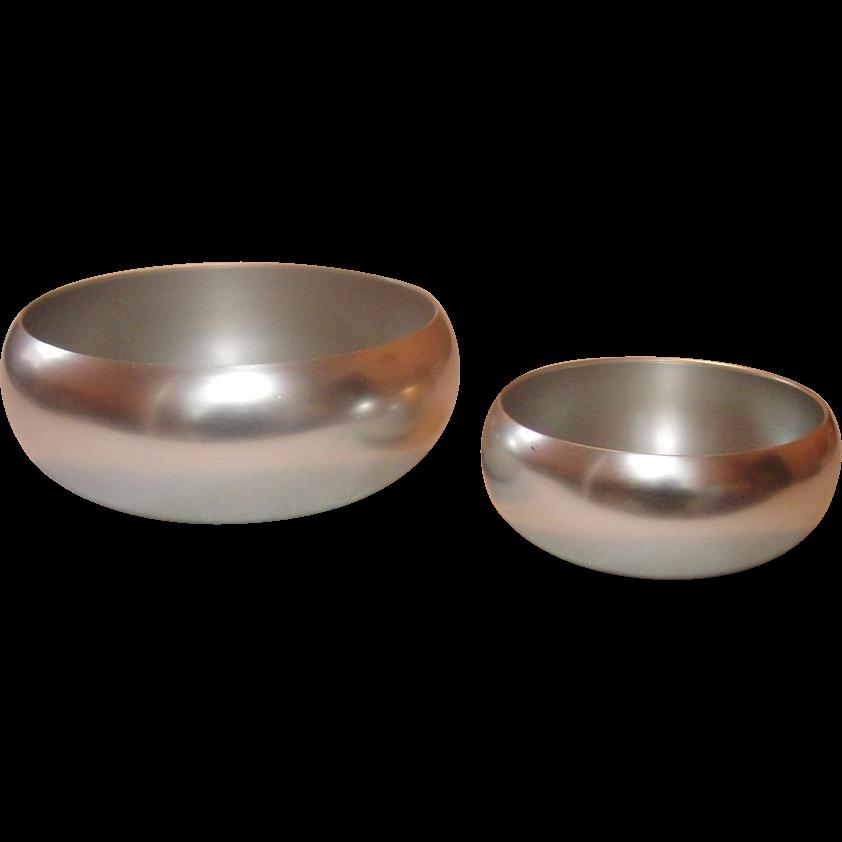 "Kensington Ware, Vintage Aluminum Serving Bowls, 7 1/2"" and 5 1/2"", Mid-century"