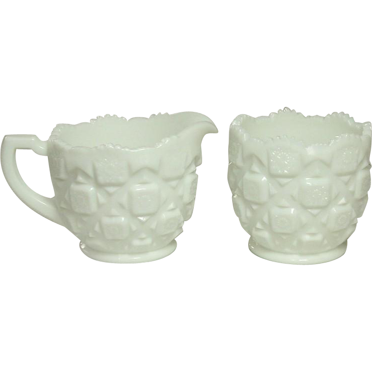 Westmoreland Glass, Old Quilt Pattern, Large Creamer and Sugar, 1978, Milk Glass