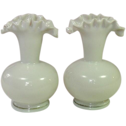 A Pair of Bristol Glass Vases ~ Ruffled Rims ~ Blown Glass ~ 5 7/8""