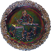 Fenton Amethyst Carnival Glass Collector Plate ~ Craftsmen of America Series ~ No. 1 ~ 1970 ~ Original Sticker