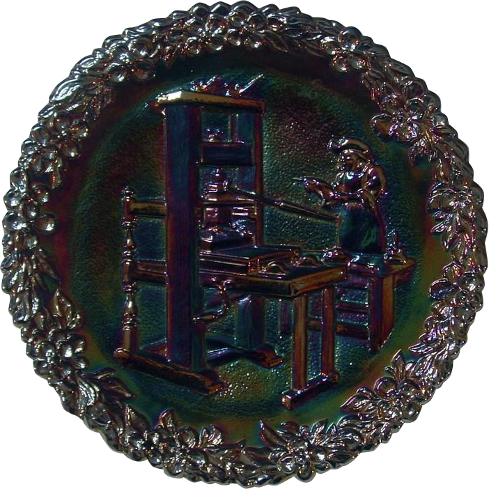 Fenton Amethyst Carnival Glass Collector Plate ~ Craftsmen of America Series ~ No. 2 ~ 1971