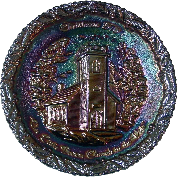 Fenton Amethyst Carnival Glass Collector Plate ~ Christmas in Amcerica Series ~ No. 1
