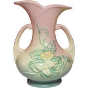 "Hull Art Pottery ~ Wildflower Vase ~ 7 1/2"" ~ Double Handled ~ Pink, Dusty Blue, Yellow, Green ~ 1946-1947"