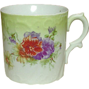 Porcelain Shaving or Granny Mug ~ Colorful Floral Decoration ~ Embossed Design ~ Shapely Handle ~ Germany ~ Circa 1900
