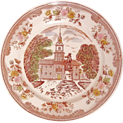 Transfer-ware Dinner Plate ~ Brown & Richie Ltd. ~ Independence Hall ~ Historical Scenes Series ~ Discontinued