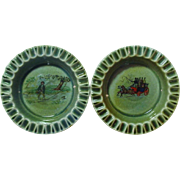 Wade Co Armagh Porcelain ~ Two Ashtrays ~ Made In Ireland ~ 1950's ~ The Flyfisherman and the Passenger Coach