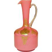 Blown Cased Glass Ewer / Vase ~ Clear over Pink ~ 17th Century Courting Couple Gilt Decor ~ Applied Handle ~ Mid-Century