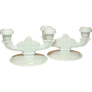 Vintage Fenton Art Glass ~ Daisy & Button Pattern ~ Two Light Candle Holders ~ Pair ~ Milk Glass ~ 1953-1963