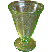 Depression Glass ~ Footed Tumbler ~ Rose Cameo Pattern ~ Belmont Tumbler Company ~ Green ~ 1931