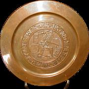 "Vintage Copper Wall Plaque ~ Aztec / Mayan Design ~ Repousse ~ Rolled Edge ~ 11"" Diameter ~ Mid Century"