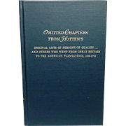 Immigrants from Great Britain to the American Plantations, 1600-1700 1983, First Edition, 2nd printing, Fine Condition